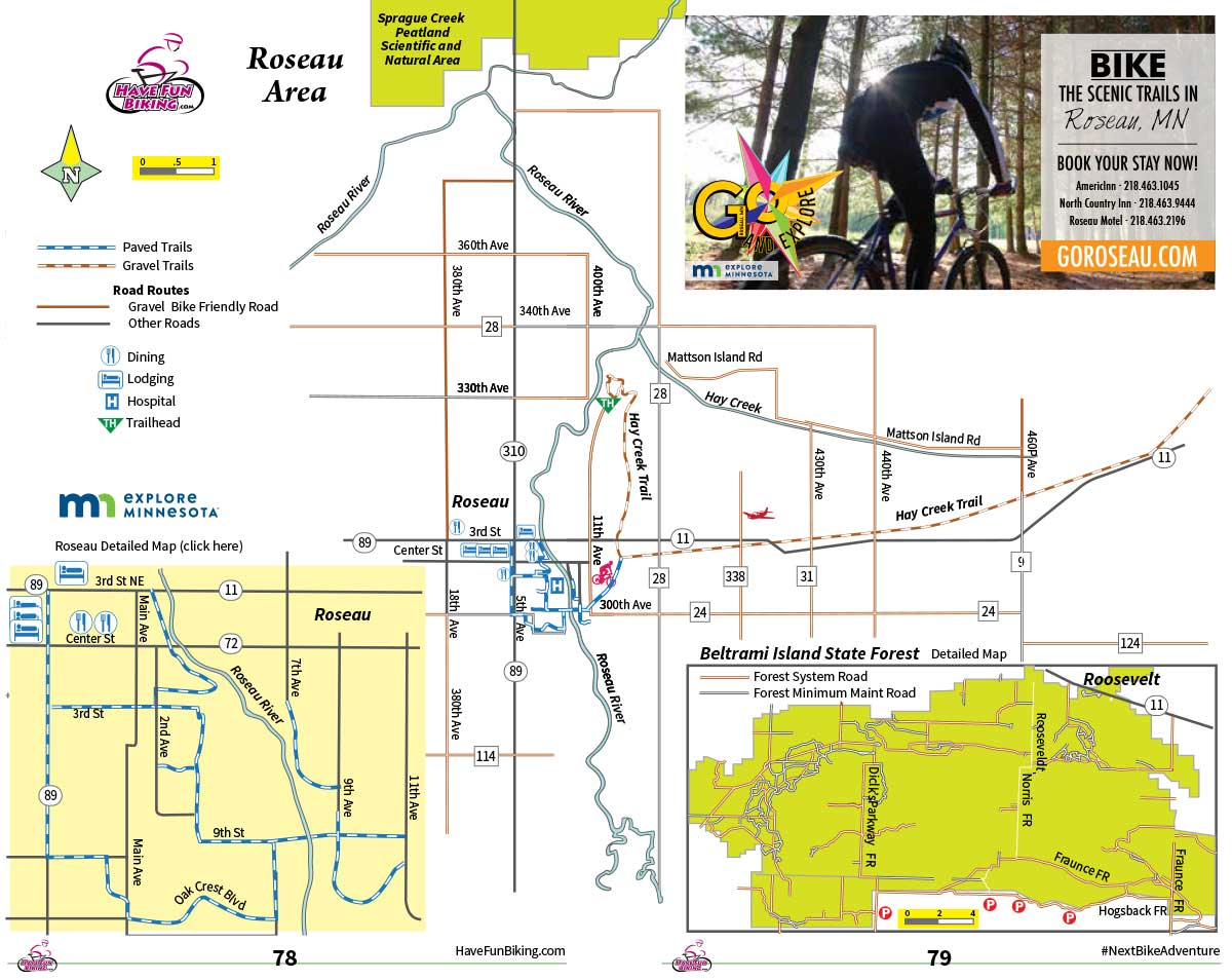 Roseau bike trail map